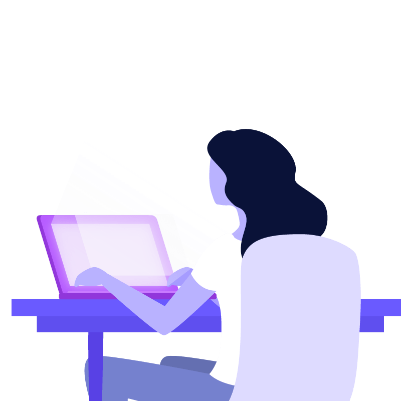 app marketing illustration woman using laptop