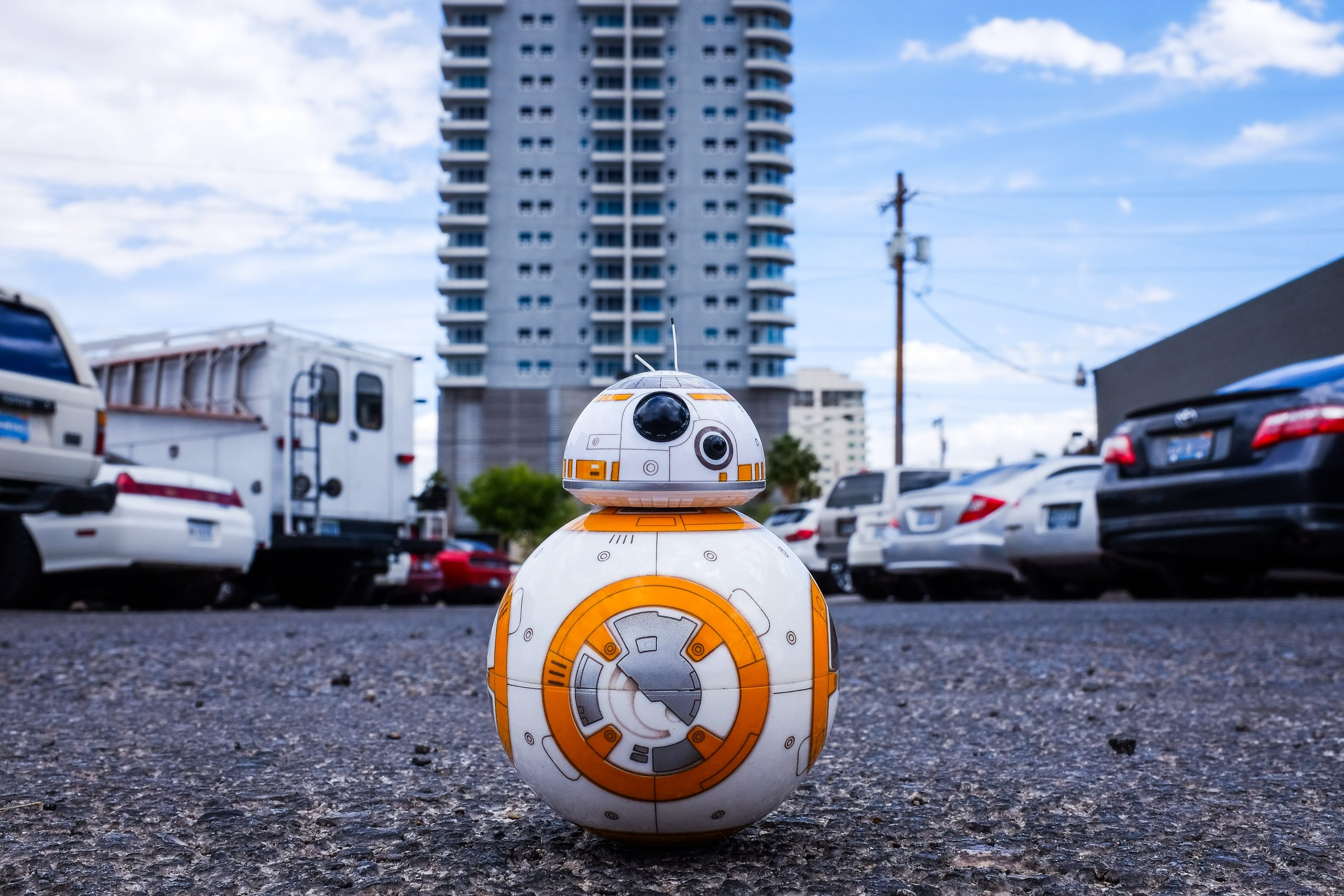 bb8 droid in car park